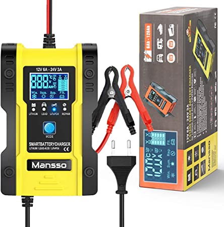Mansso Kfz Batterieladegerät 12v 24v Autobatterie Ladegeräte Vollautomatisches Intelligentes Batterieladegerät Mit Lcd Touchscreen Für Auto Motorrad Rasenmäher Oder Boot Auto