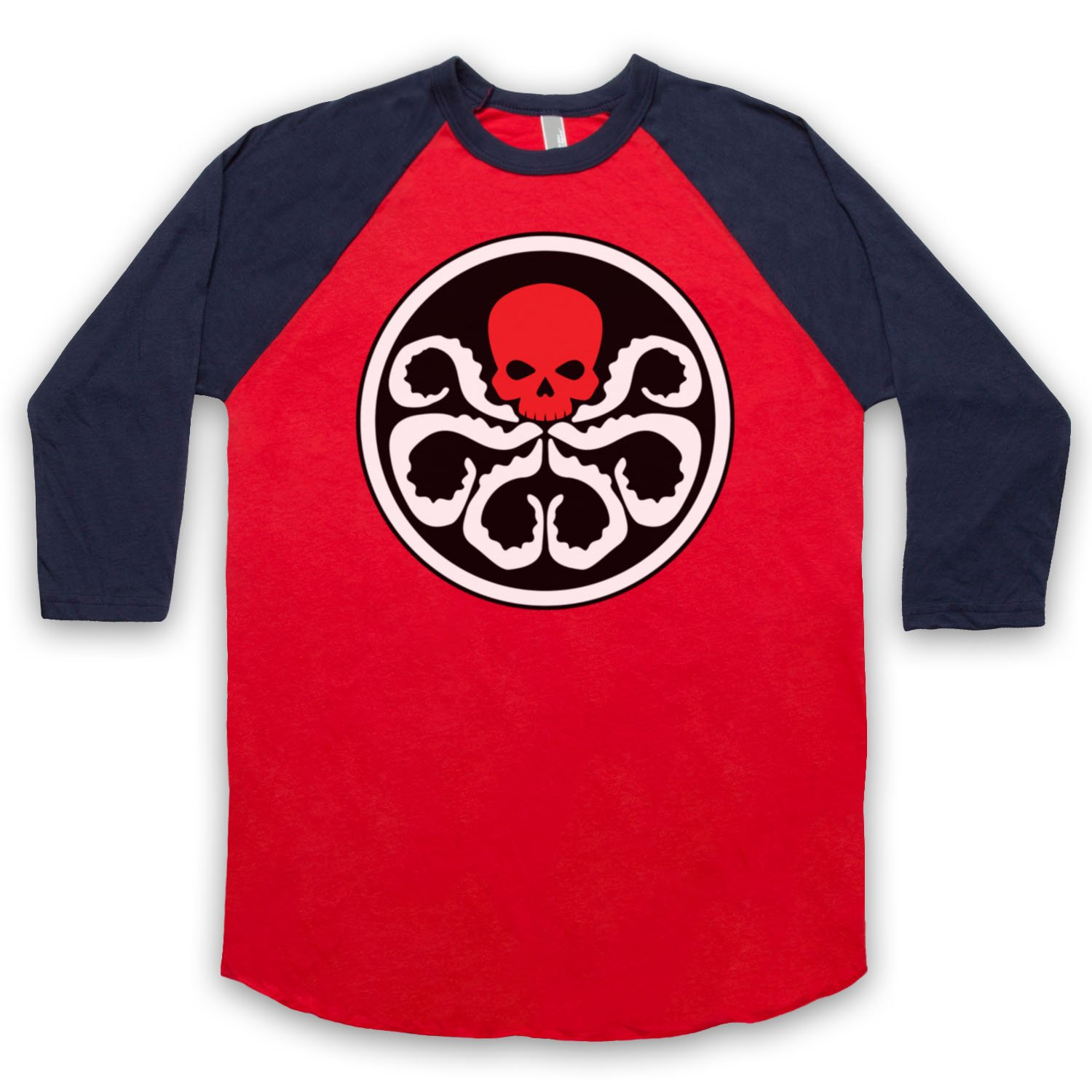 Inspired by Captain America Hydra Red Skull Unofficial 3/4 Sleeve Retro Baseball Tee