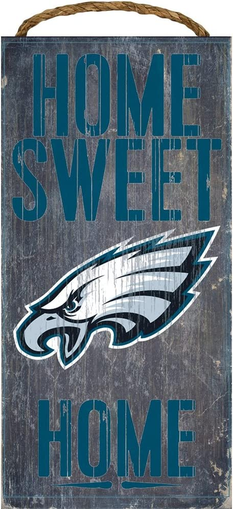 "Philadelphia Eagles Home Sweet Home Wood Sign 12""x6"""