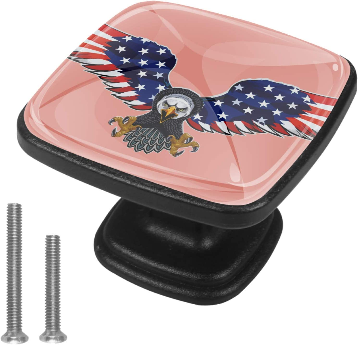 Kitchen Cabinet Knobs - American Eagle and American Flag - 1.18 Inch Round Drawer Handles - 4 Pack of Kitchen Cabinet Hardware