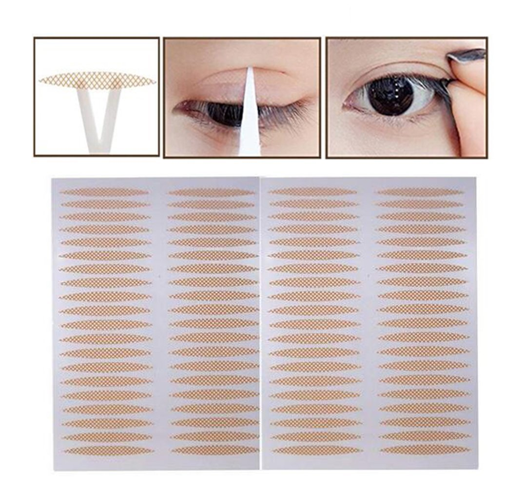 800Pcs Lace Breathable Natural Invisible Single Sided Double Eyelid Tape Self-Adhesive Eyelid Stickers Instant Eyelid Lift Without Surgery for Hooded Droopy Uneven Mono-eyelids SYBL