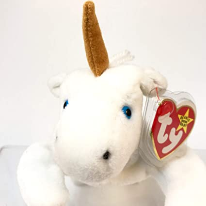 6d1867aad81 Image Unavailable. Image not available for. Color  TY Beanie Baby - MYSTIC  the Unicorn (tan horn   yarn mane)