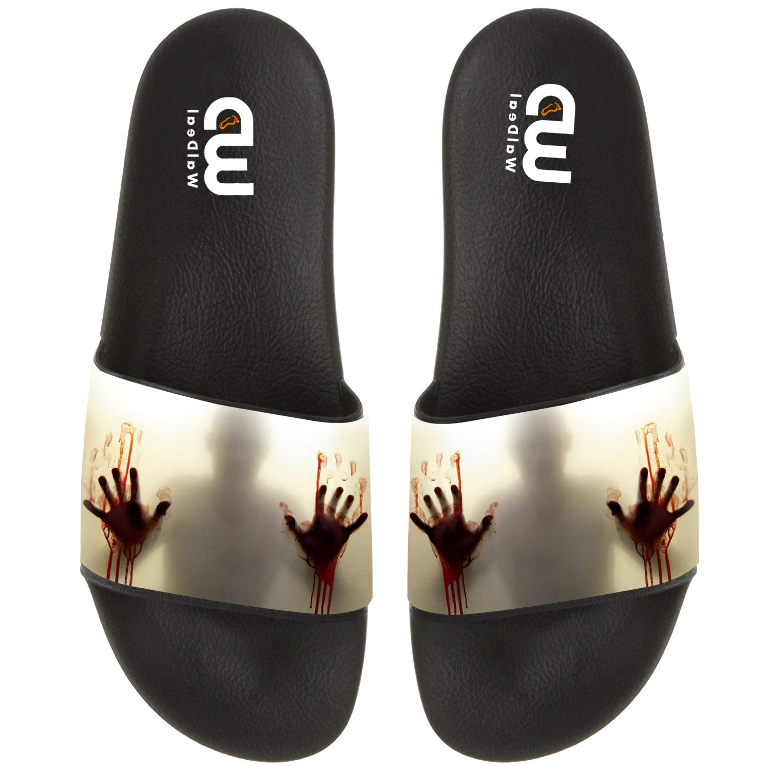 Halloween Decor Help Me People With Bloody Hands Slide Slippers For Boy Girl Indoor Sandal Shoes size 2