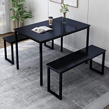3 Piece Dining Table Set 2 Bench Chairs Wood Rectangle Kitchen Room Furniture