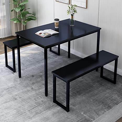 Fantastic Rhomtree 3 Pieces Dining Set Table With 2 Benches Kitchen Dining Room Furniture 47 6L X 29 9W Modern Style Wood Table Top With Metal Frame Black Gmtry Best Dining Table And Chair Ideas Images Gmtryco
