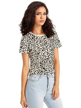 8a5ee016179f SweatyRocks Women's Casual Loose Short Sleeve Leopard Print T-Shirt Tops #  Multicolor XS