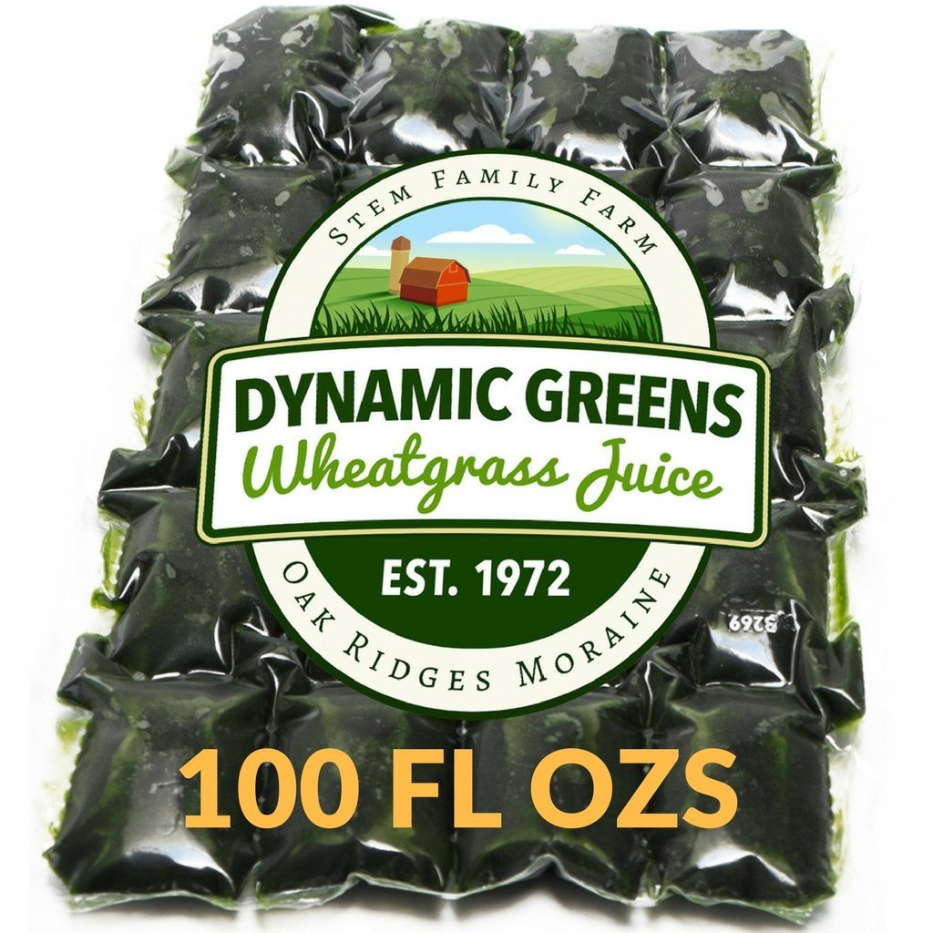 Dynamic Greens Wheatgrass Juice - 100 Fl Ozs - Just $1.89 Per Oz - 100% Wheatgrass Juice - Field Grown - Flash Frozen - Unpasteurized - 200 x 0.5 Fl Oz Portions by Dynamic Greens