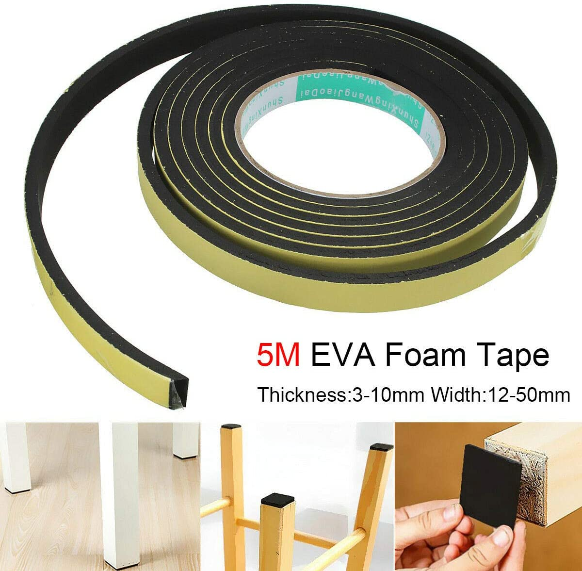 x 5 m 12 mm noir Ruban adh/ésif en mousse EVA SENRISE 50 mm x 3 mm T l Ruban adh/ésif en mousse EVA /à une face L /Étanche pour isolation de porte et de fen/être