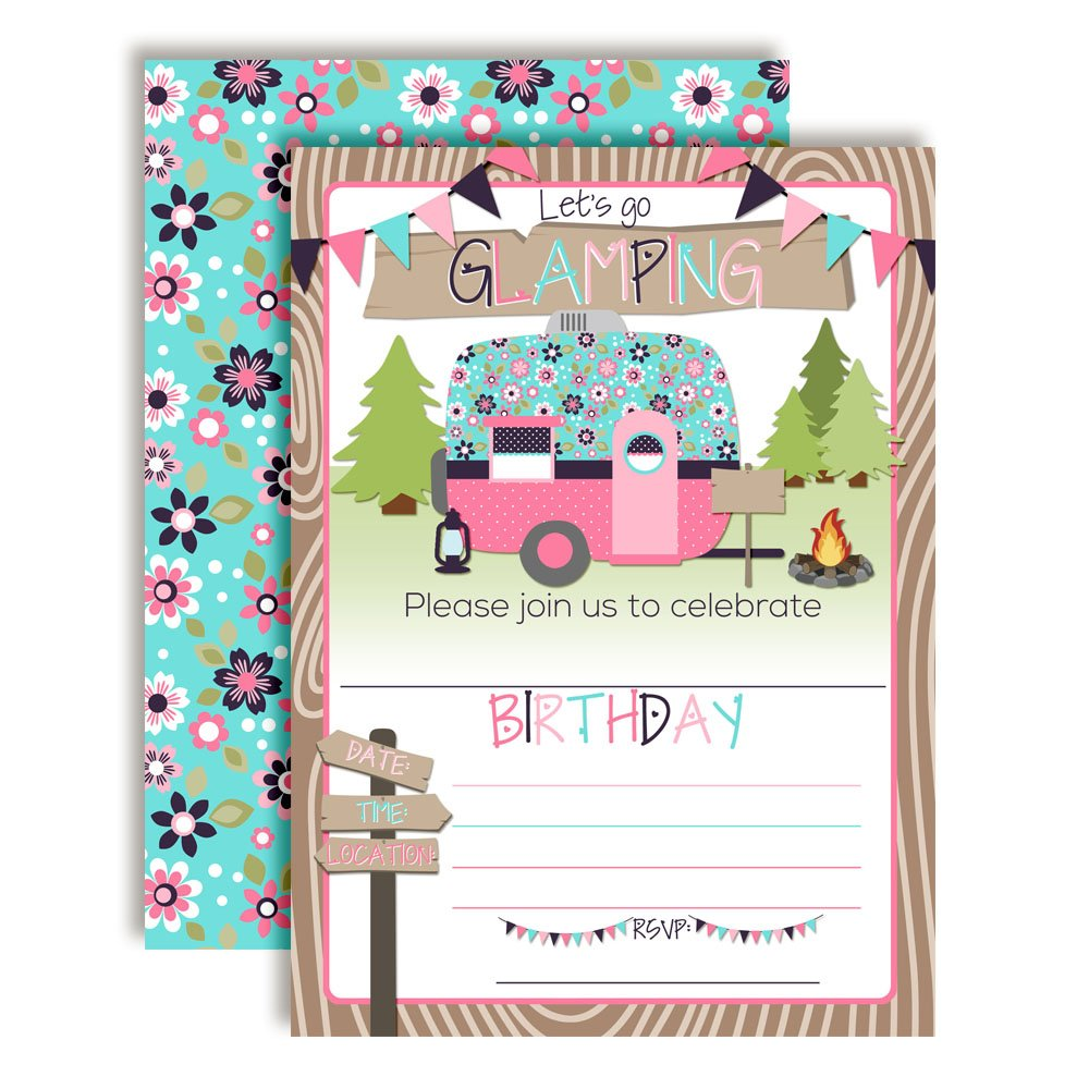 Glamping Glamorous Camping Birthday Party Invitations for Girls, 20 5''x7'' Fill in Cards with Twenty White Envelopes by AmandaCreation