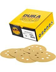 "Dura-Gold Premium - 150 Grit - 5"" Gold Sanding Discs - 8-Hole Dustless Hook and Loop for DA Sander - Box of 50 Finishing Sandpaper Discs for Woodworking or Automotive"