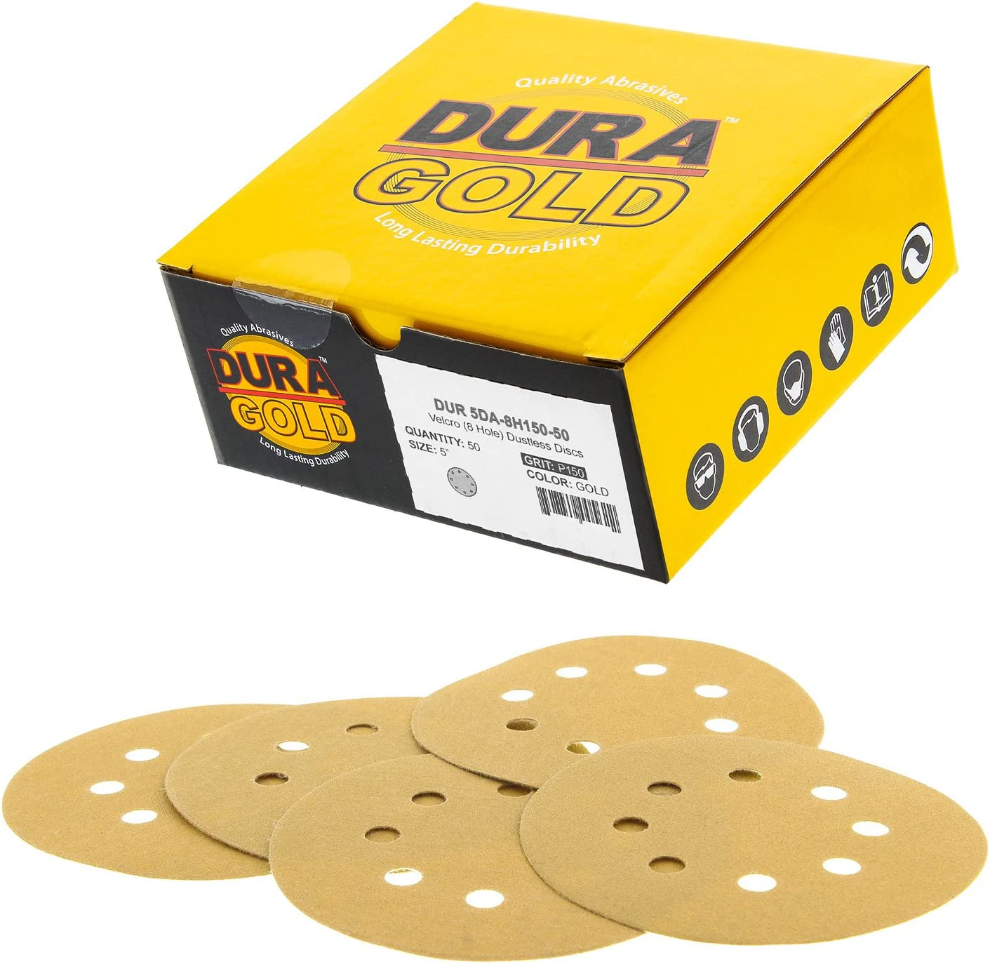 """Dura-Gold Premium - 150 Grit - 5"""" Gold Sanding Discs - 8-Hole Dustless Hook and Loop for DA Sander - Box of 50 Finishing Sandpaper Discs for Woodworking or Automotive"""