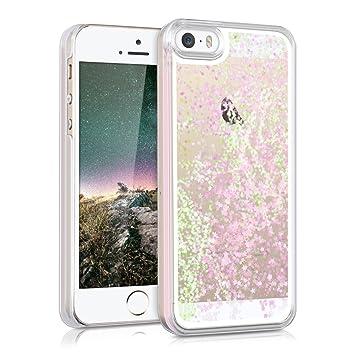 kwmobile Carcasa para Apple iPhone SE / 5 / 5S con líquido - Hardcase Cobertura de batería Funda Protectora Agua con diseño de Purpurina y Estrellas ...