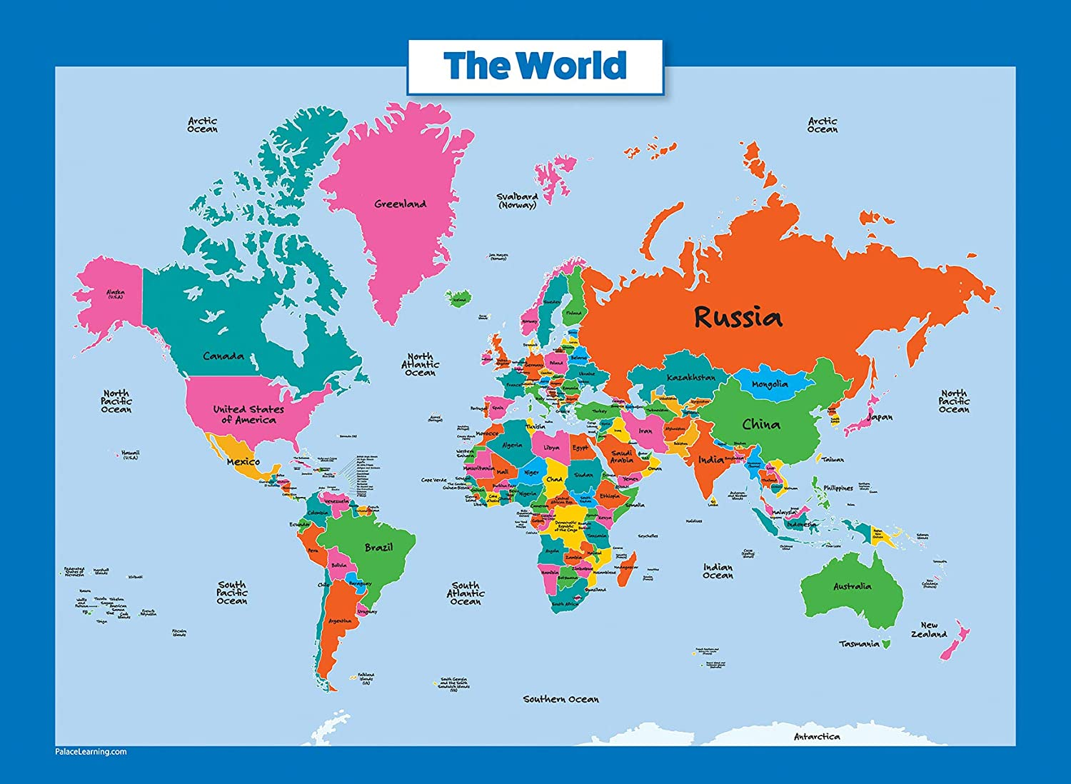 Simple Map Of The World Amazon.com: Palace Curriculum World Map and USA Map for Kids   2