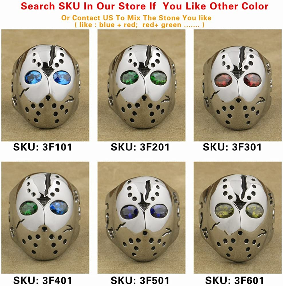 316L Stainless Steel Halloween Jason Mask Hockey Red CZ Eyes Mens Ring 3F301A