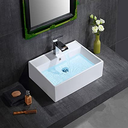 Anaelle Pandamoto Lavabo Vasque à poser en Céramique sur Salle du bain,  Taille: 38 x 32 x 12cm, Poids: 5kg, Blanc