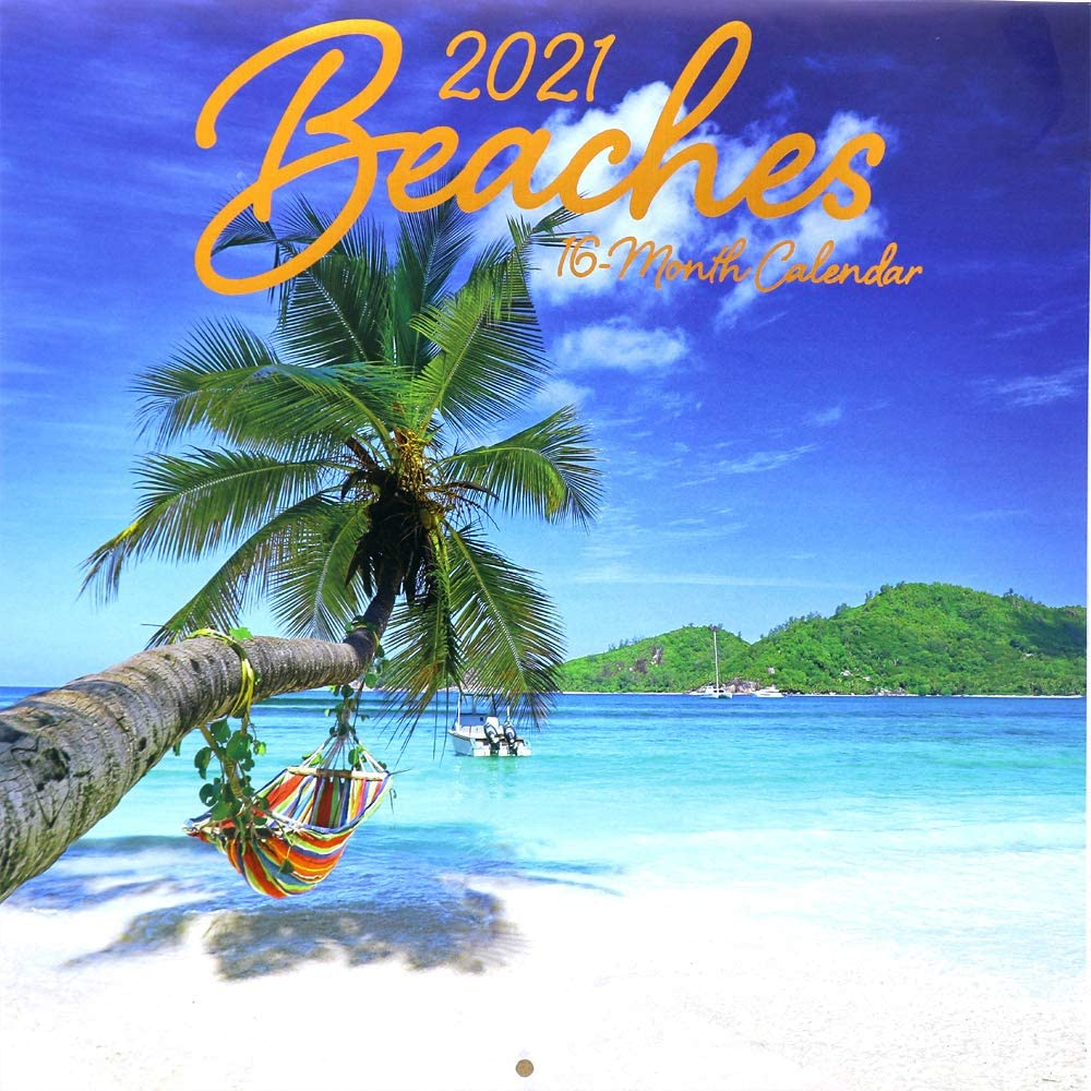 OCD Bargain 2021 Wall Calendar 16-Month - Full-Color Beautiful Scenic Photography for Office and Home Use (Beaches)