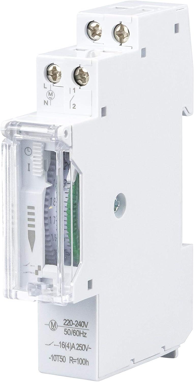 POPP® Electric Temporizador diario analógico para montaje en panel, en pasos de 24 horas 15 min, 230 V, max. 3500 W. (YX180)