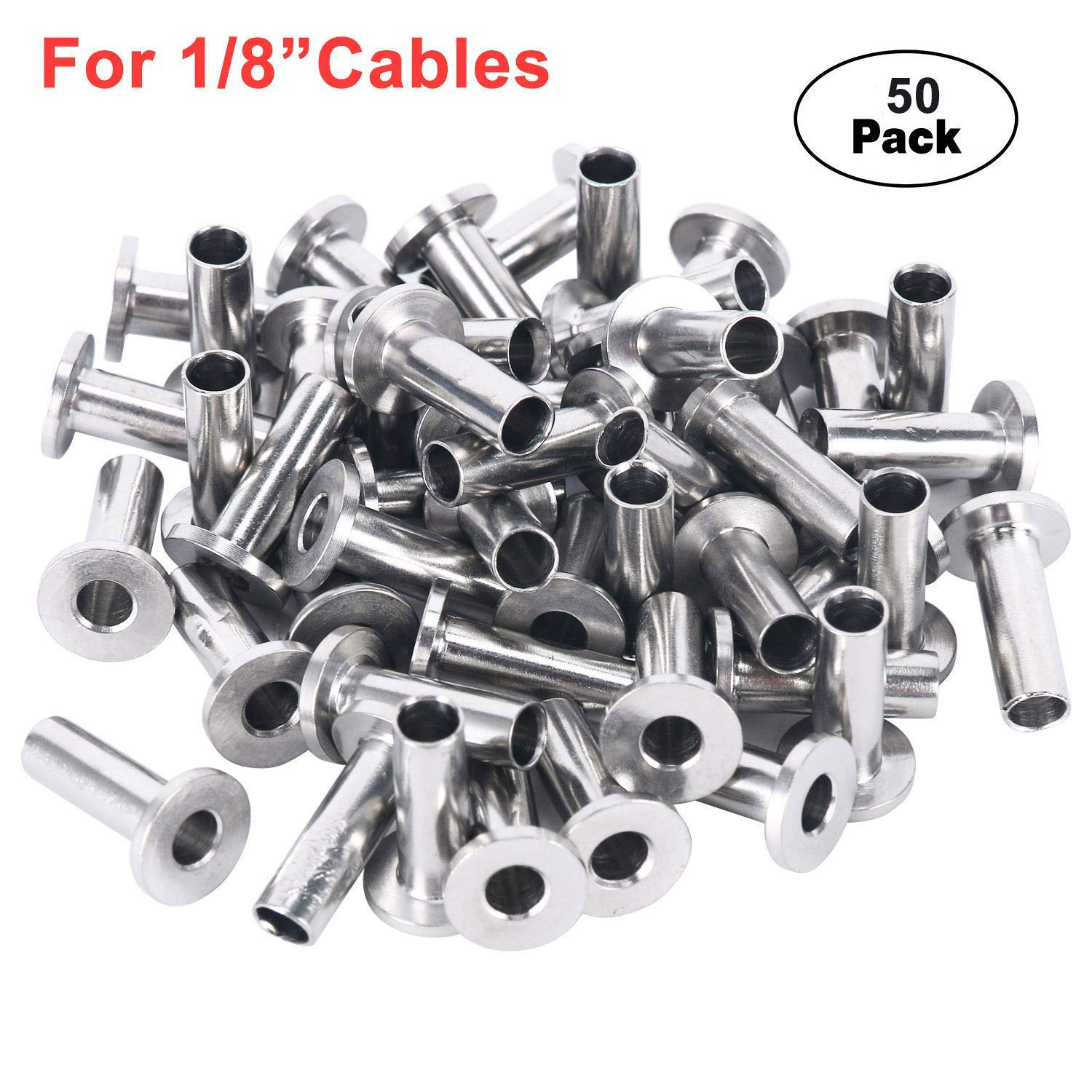 DasMarine 50PCS Stainless Steel Protector Sleeves for 1/8 Cable Railing, T316 Marine Grade