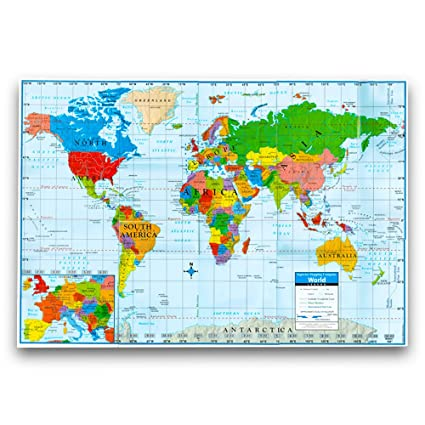 Amazon kappa world wall map poster homeschooloffice giant kappa world wall map poster homeschooloffice giant format 40quot gumiabroncs Image collections