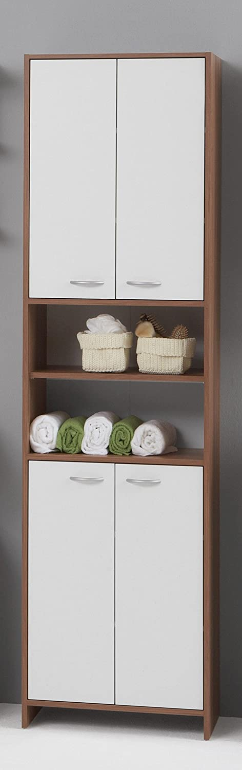 MADRID Premium Tall Double Wide Bathroom Cupboard / Tallboy Unit In White  And Plum Tree Finish