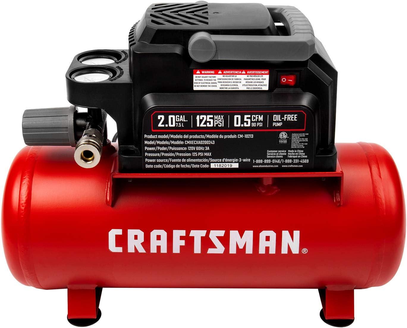 2 Gallon Portable Air Compressor 1//3 HP Oil-Free Max 125 PSI Pressure Craftsman Air Tools Hot dog Model: CMXECXA0200243