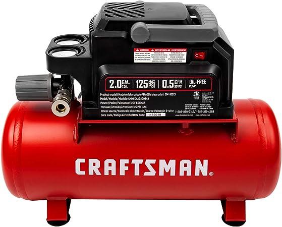 Craftsman compresor de aire, 2 galones máx. 125 PSI presión 1/3 HP 0,5 CFM @ 90psi portátil sin mantenimiento de aceite, CMXECXA0200243: Amazon.es: Bricolaje y herramientas