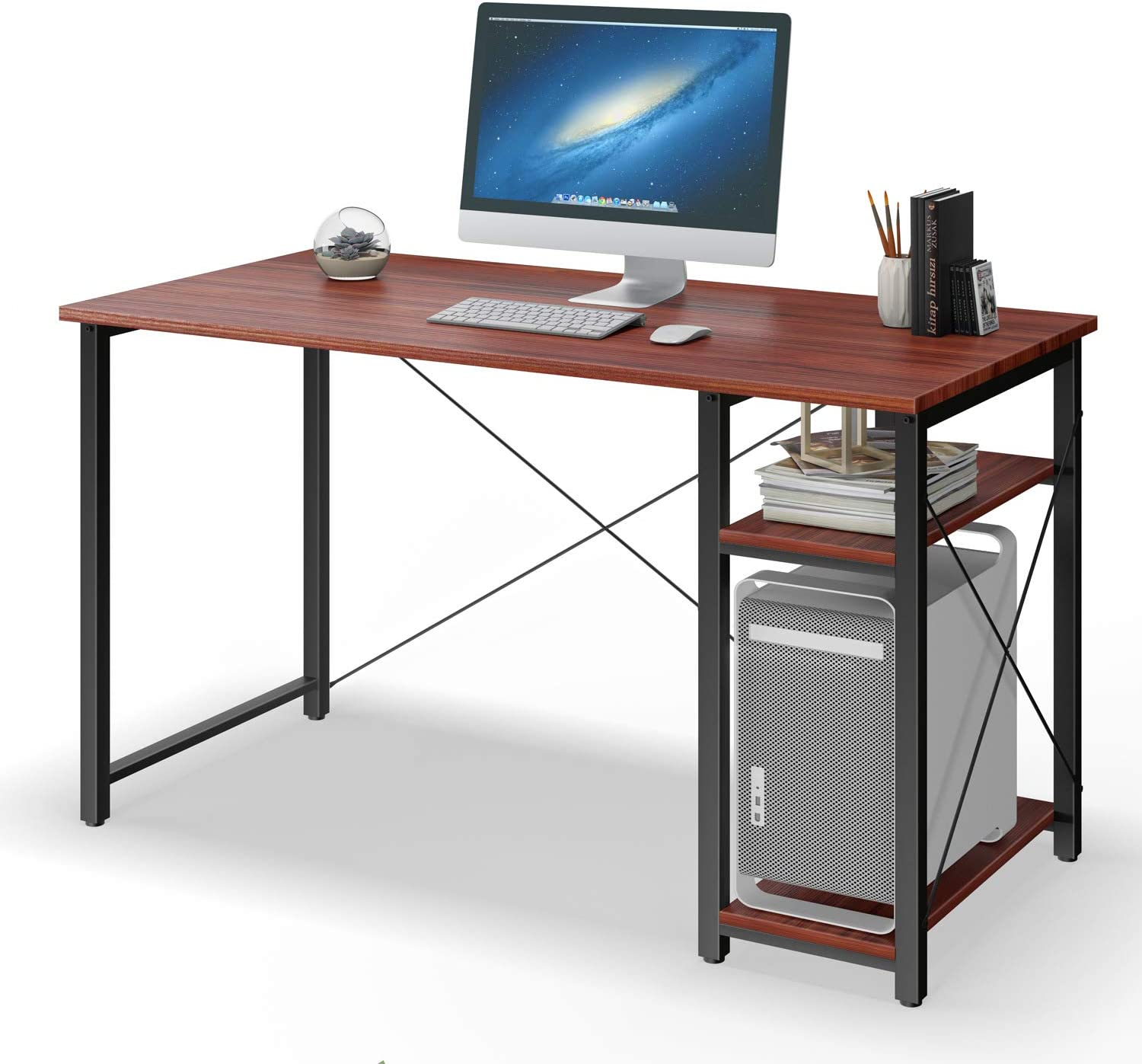 "Computer Desk with Shelves,47"" Modern Sturdy Writing Desk for Home Office,Office Desk with Bookshelf,Teak"
