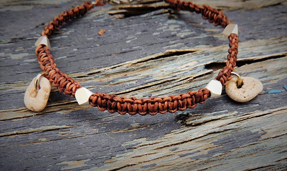 Braided Cord Anklet With Natural Small Hag Stones Womens Ankle Bracelet Laverdad Bo Hag stones are found near rivers, beaches, and in some forests. small hag stones womens ankle bracelet