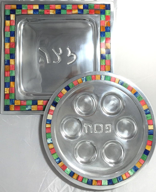 Square Passover Matzah Seder Plate with Modern Bone Colored Square Tiles Border Alef Judaica MT2011