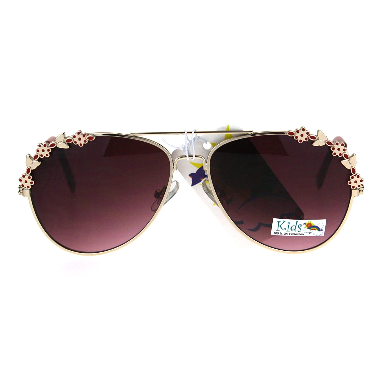 Girls Aviator Sunglasses Floral Flower Design Metal Frame UV 400