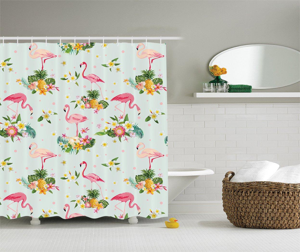 Amazon.com: Ambesonne Flamingo Decor Collection, Flamingo Bird and ...