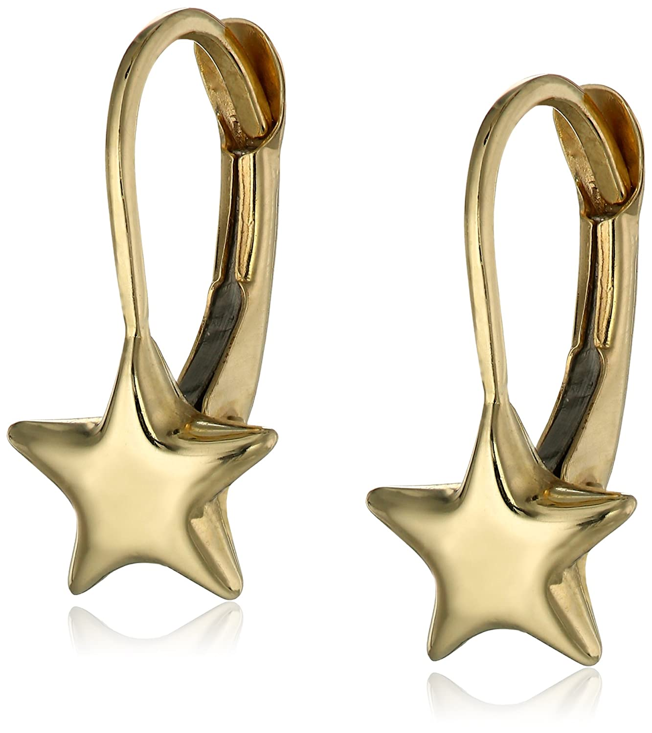 Girls 14k Yellow Gold Star Lever Back Earrings