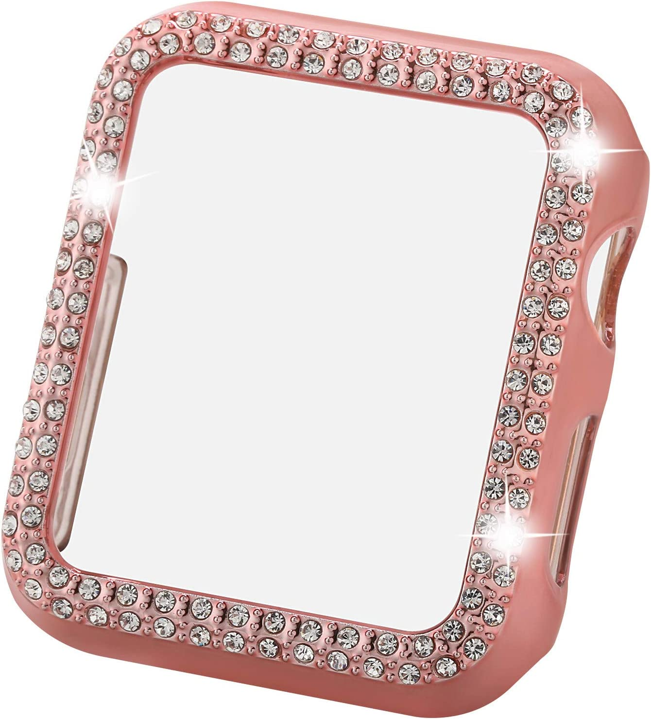 Greaciary Sparkle Compatible with Apple Watch 40mm,Compatible with iWatch Face Bling Crystal Diamond Plate Cover Protective Frame for Apple Watch 5/4 Women( Double Rhinestone-Rose Pink, 40mm)