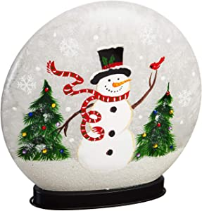 Cypress Home Beautiful Christmas Snowman and Cardinal Hand Painted Glass LED Disc Table Décor - 10 x 3 x 10 Inches Indoor/Outdoor Decoration for Homes, Yards and Gardens