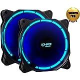 uphere fantastic 120-LED Ventola di Raffreddamento da 120 mm, blu (Confezione Doppia), 4 pin