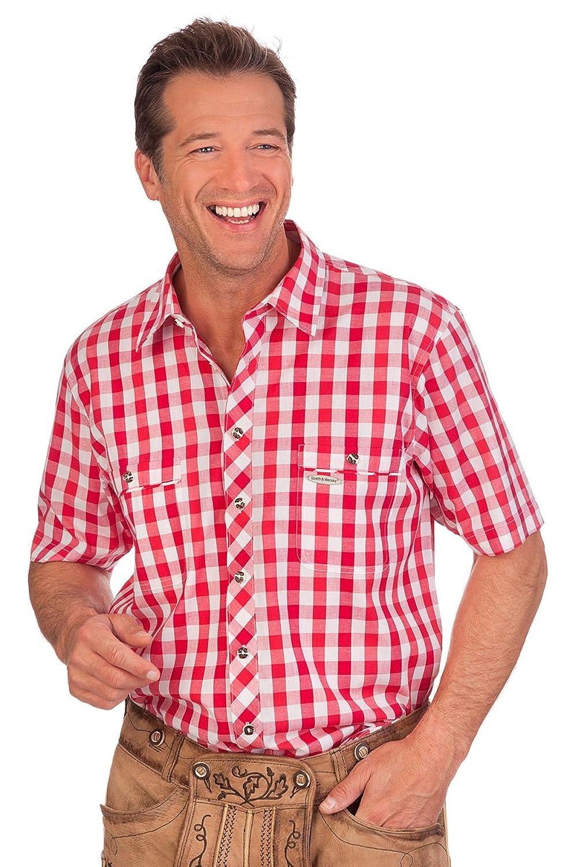 H1418 - Trachten Herren Hemd mit 1/2-Arm - STRAUBING - rot, grün, blau, Größe 37/38 (S)