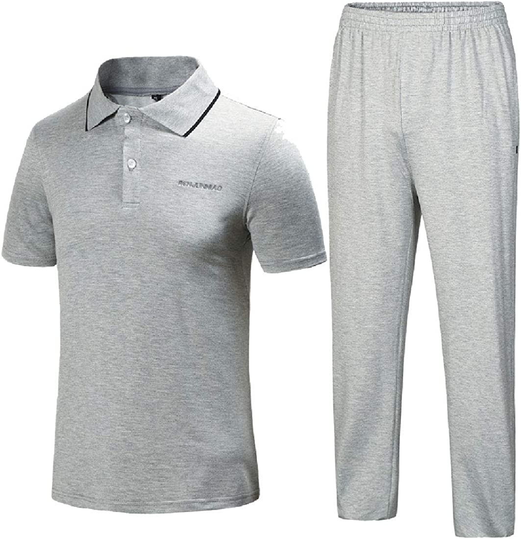 Andopa Mens Athletic Summer Casual Vogue Polo 2-Piece Tracksuit Outfit