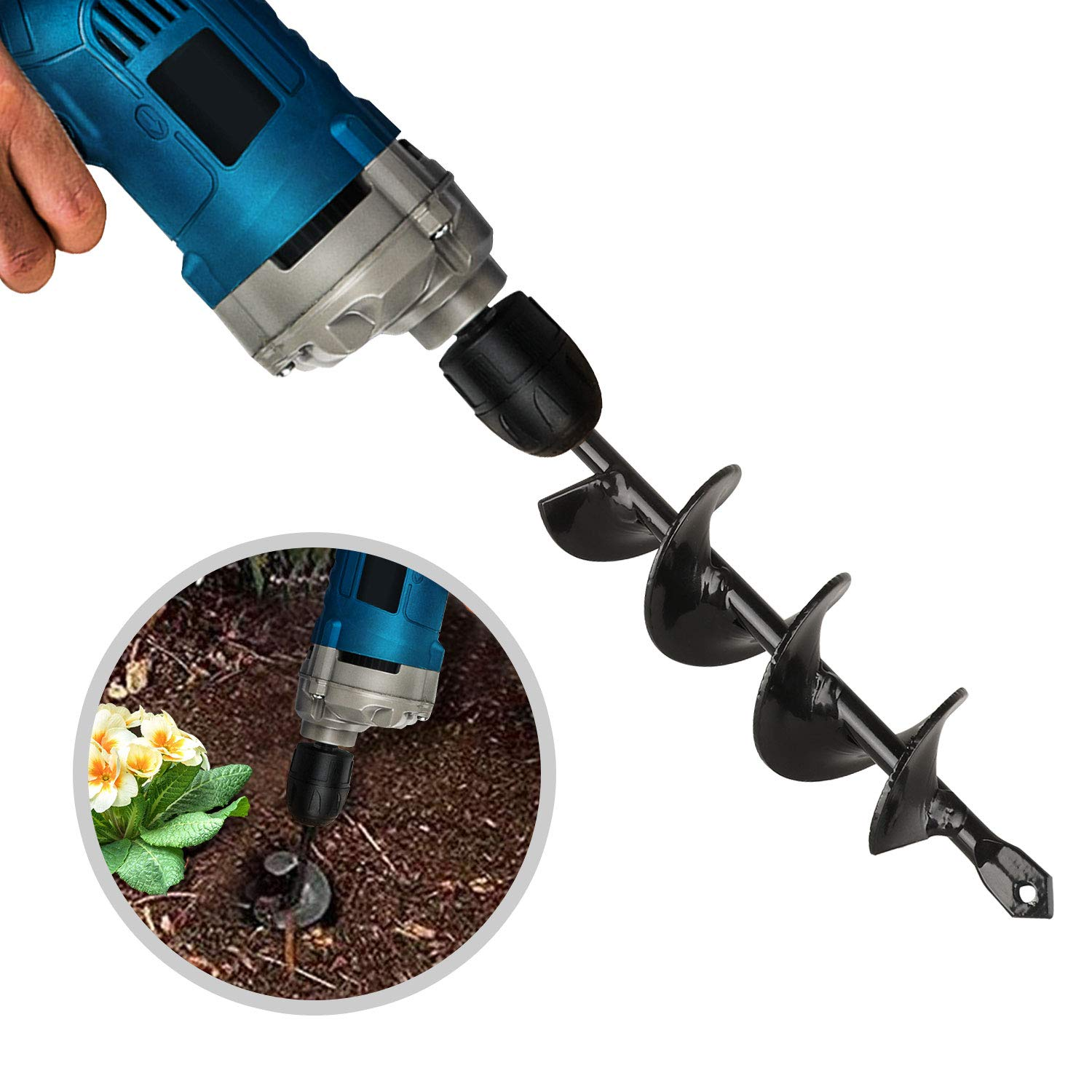 EEEKit Auger Drill Bit Garden Plant Flower Bulb Auger Rapid Planter Bulb /& Bedding Plant Auger for 3//8 Hex Drive Drill Earth Auger Drill Fence Post Umbrella Hole Digger 1.8x15 in//4.6 x37 cm