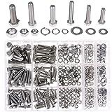 Hilitchi 510Pcs M4 / 5 / 6 Stainless Steel Metric Hex Flat Head Bolts Screws Nuts Flat and Lock Washers Assortment Kit