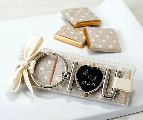 Llaveros boda I LOVE YOU personalizados + bombones para ...
