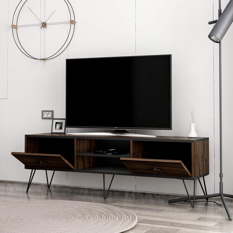Homidea Milestone Tv Unit Tv Stand With Metal Legs In Rustic Design Walnut Black Amazon Co Uk Kitchen Home