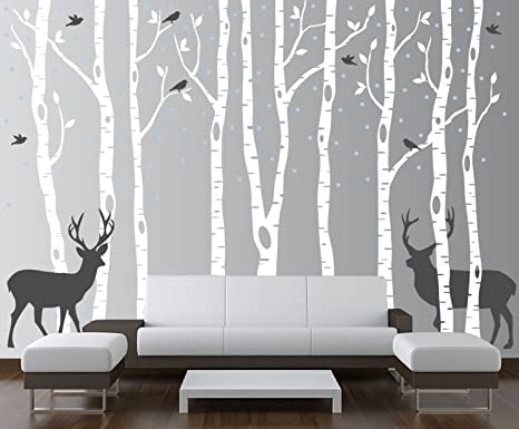 Peel-and-Stick Removable Wallpaper Snow Forest Woodland Birch Trees Birds Bird