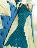 VIOMO マーメイドブランケット 人魚姫に変身 マーメイド毛布 ひざ掛け 人魚ブランケット コスプレ ソファ毛布 冷房対策 防寒 柔らかい 暖かい 着る毛布 プレゼント 出産祝い (成人用, グリーン)