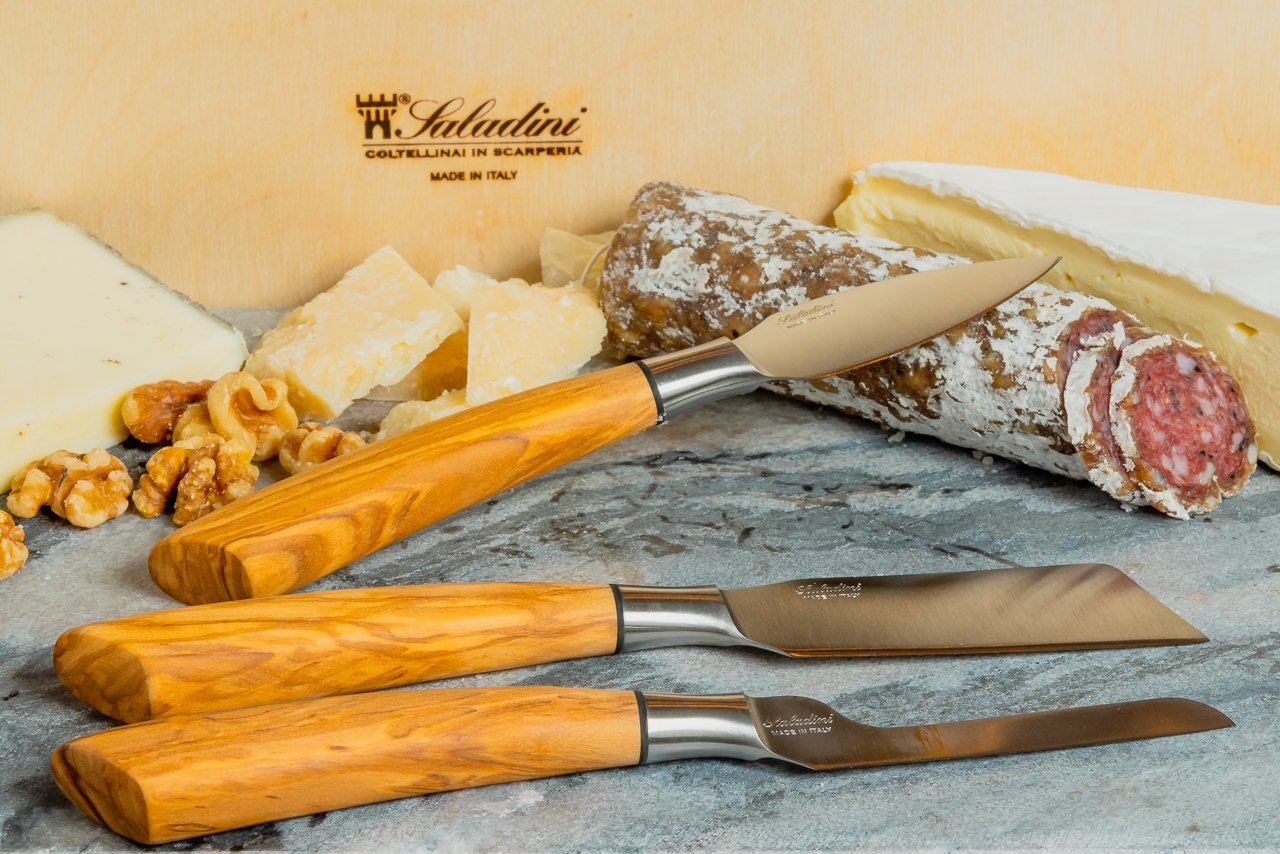 Beautiful Italian Cheese Knife Set with High Carbon Stainless Steel Blades and Sculpted Olive Wood Handles Hand Forged by Saladini (3 Piece Set) by Coltelleria Saladini (Image #2)
