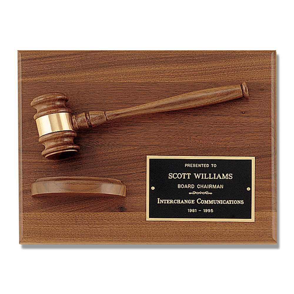 Gavel Plaque Judge Court Attorney Law Lawyer Gift American Walnut Award - 9'' x 12''