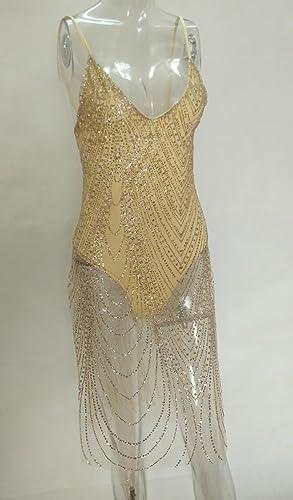 Mujer Verano Vestidos Moda Lentejuelas Transparente Tul Splicing Hendidura Vestido Atractivo Cuello V Tirantes Sin Respaldo Midi Vestido de Partido Club: ...