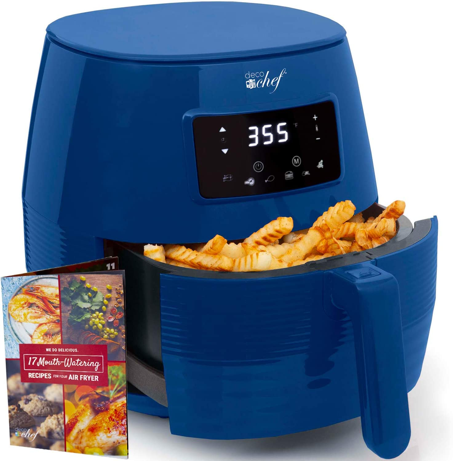 Deco Chef 5.8QT Digital Electric Air Fryer with Accessories and Cookbook- Air Frying, Roasting, Baking, Crisping, and Reheating for Healthier and Faster Cooking (Blue)