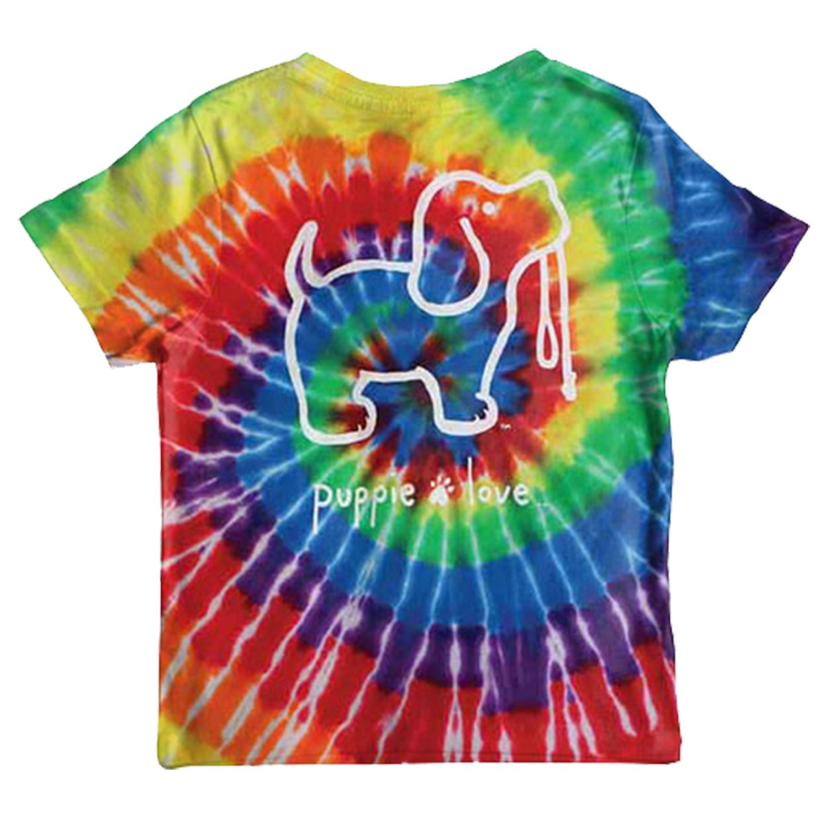 Puppie Love Youth Rainbow Tie Dye Pup Help Rescue Dogs T-Shirt-Youth Medium