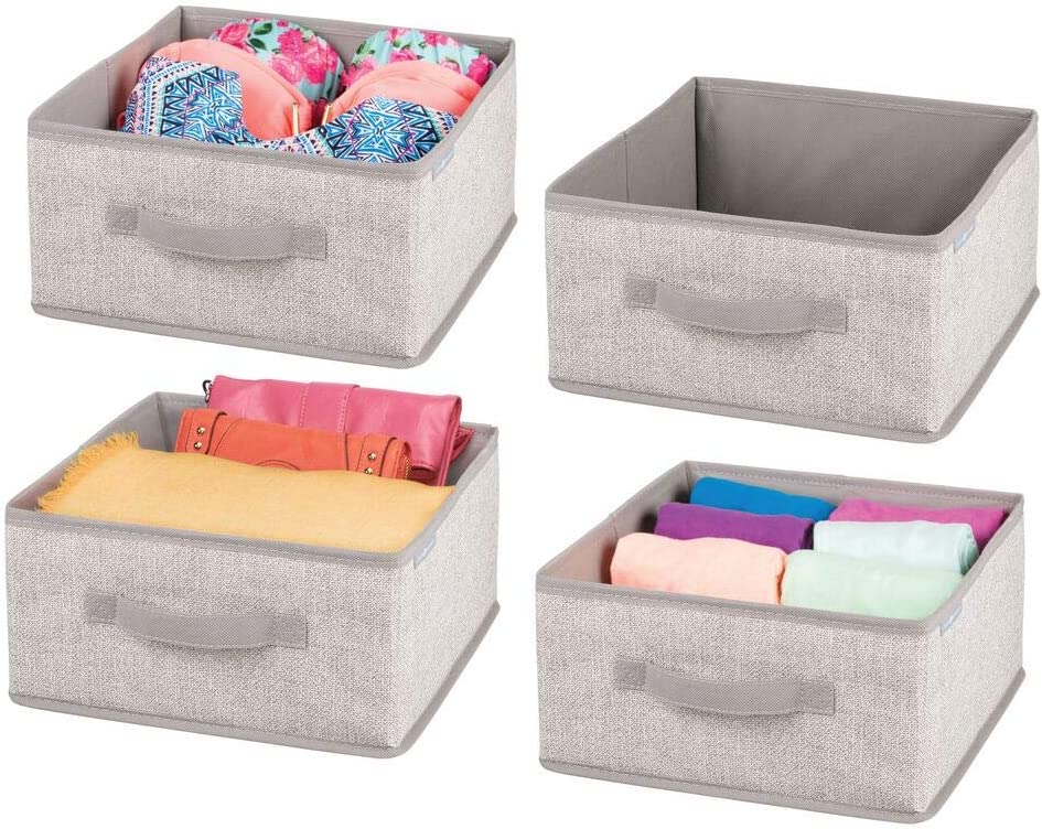 mDesign Soft Fabric Modular Closet Organizer Box with Handle for Cube Storage Units in Closet, Bedroom to Hold Clothing, T Shirts, Leggings, Accessories - Textured Print, 4 Pack - Linen/Tan