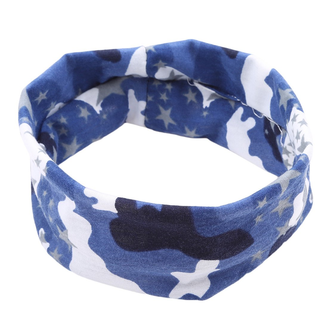 VWH Cotton Elastic Sport Headband Stretch Hairband for Running Workout Yoga Fitness (Blue)